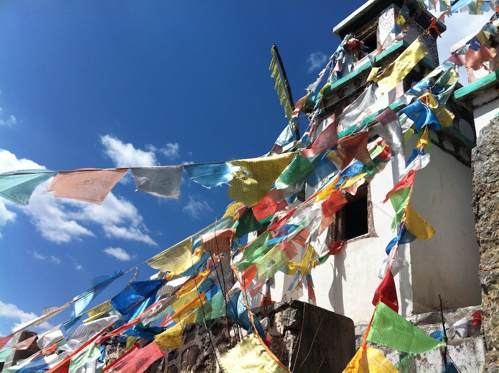 Decorated stupa above a Tibetan Buddist temple.