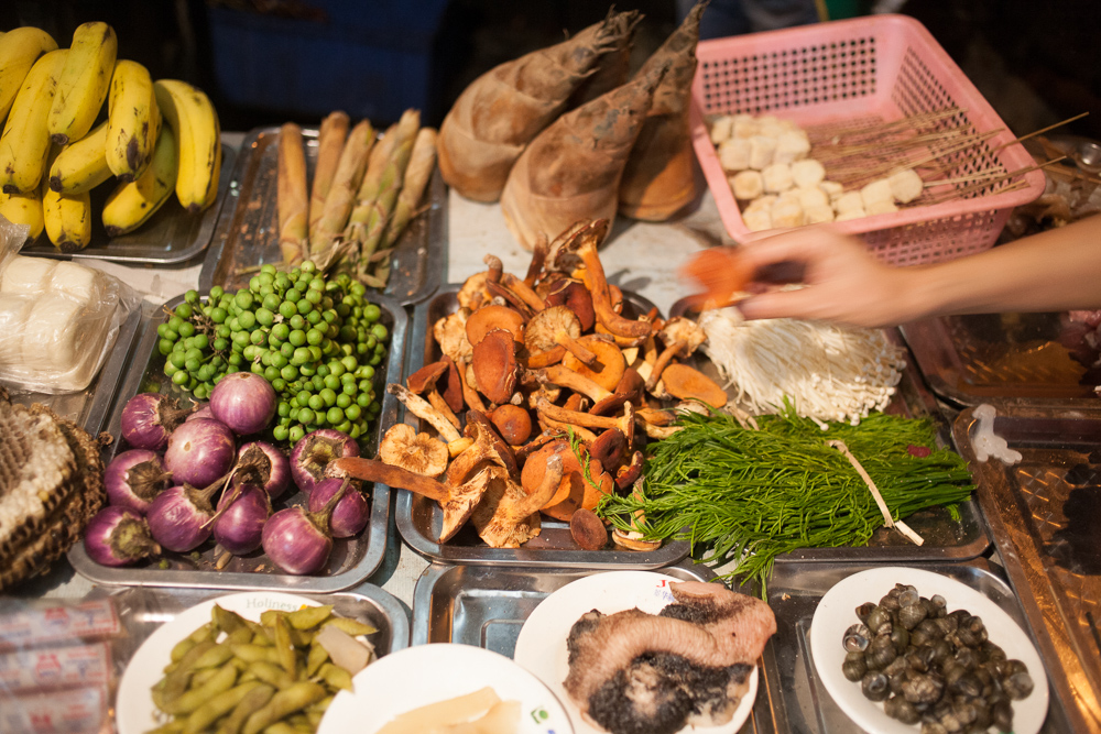 Ingredients for shao kao and side dishes at one popular spot in Xishuangbanna