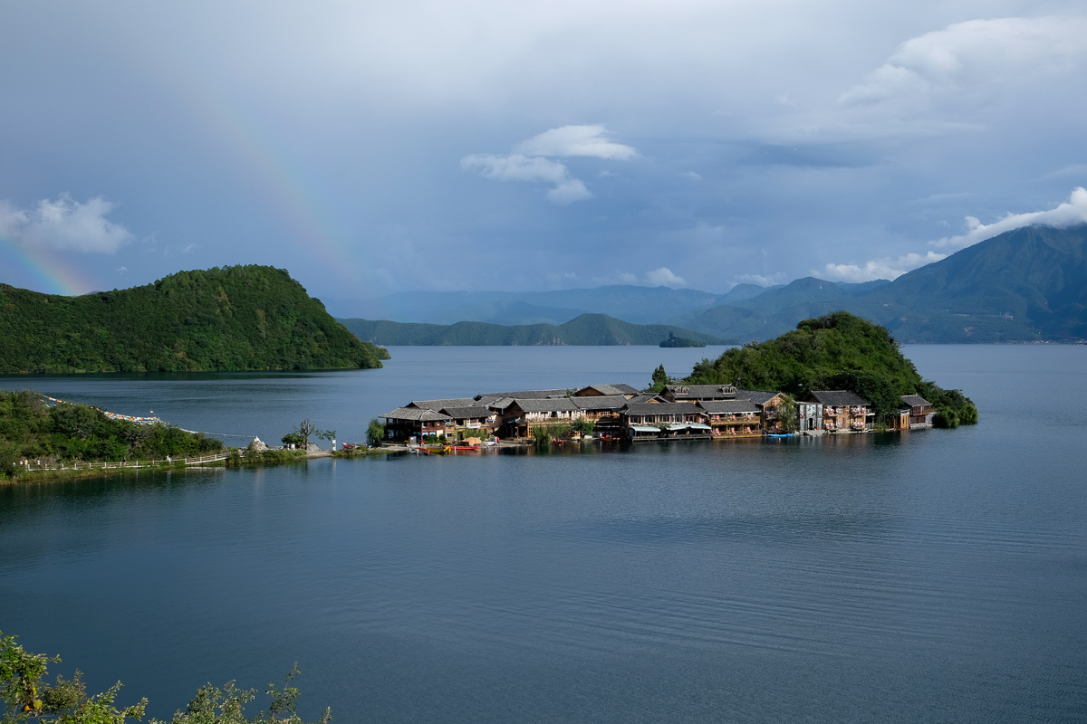 Lige Island, one of Lugu's most popular spots, is full of pretty hotels